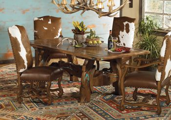 TurquoiseMesquite Table With Cowhide Dining Chairs For