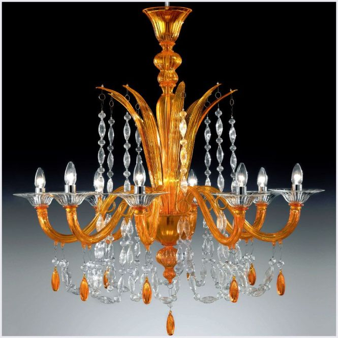 Chandleir With Modern Contemporary Touch 8 Lights Orange Murano Glass Chandelier