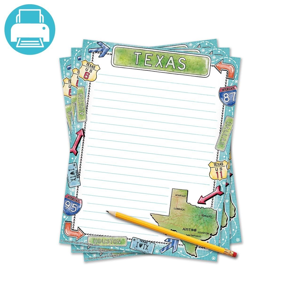 Texas Writing Template Border Paper
