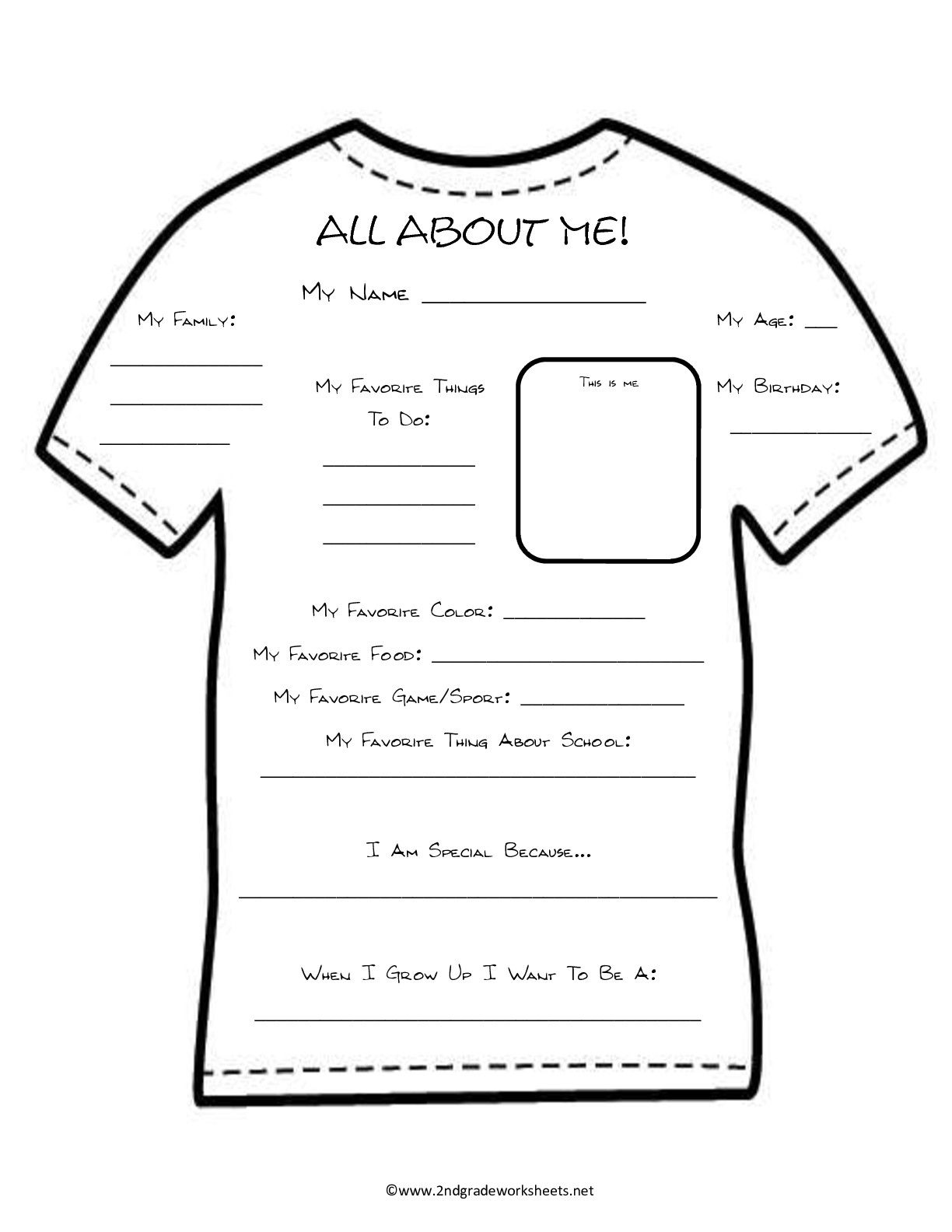 All About Me Template Worksheet