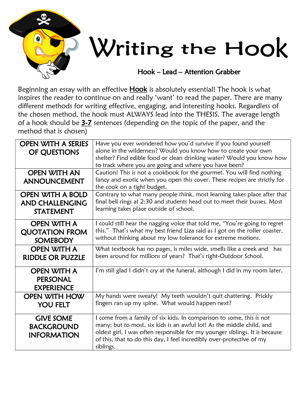 Lead Or Hook Sentence Worksheet
