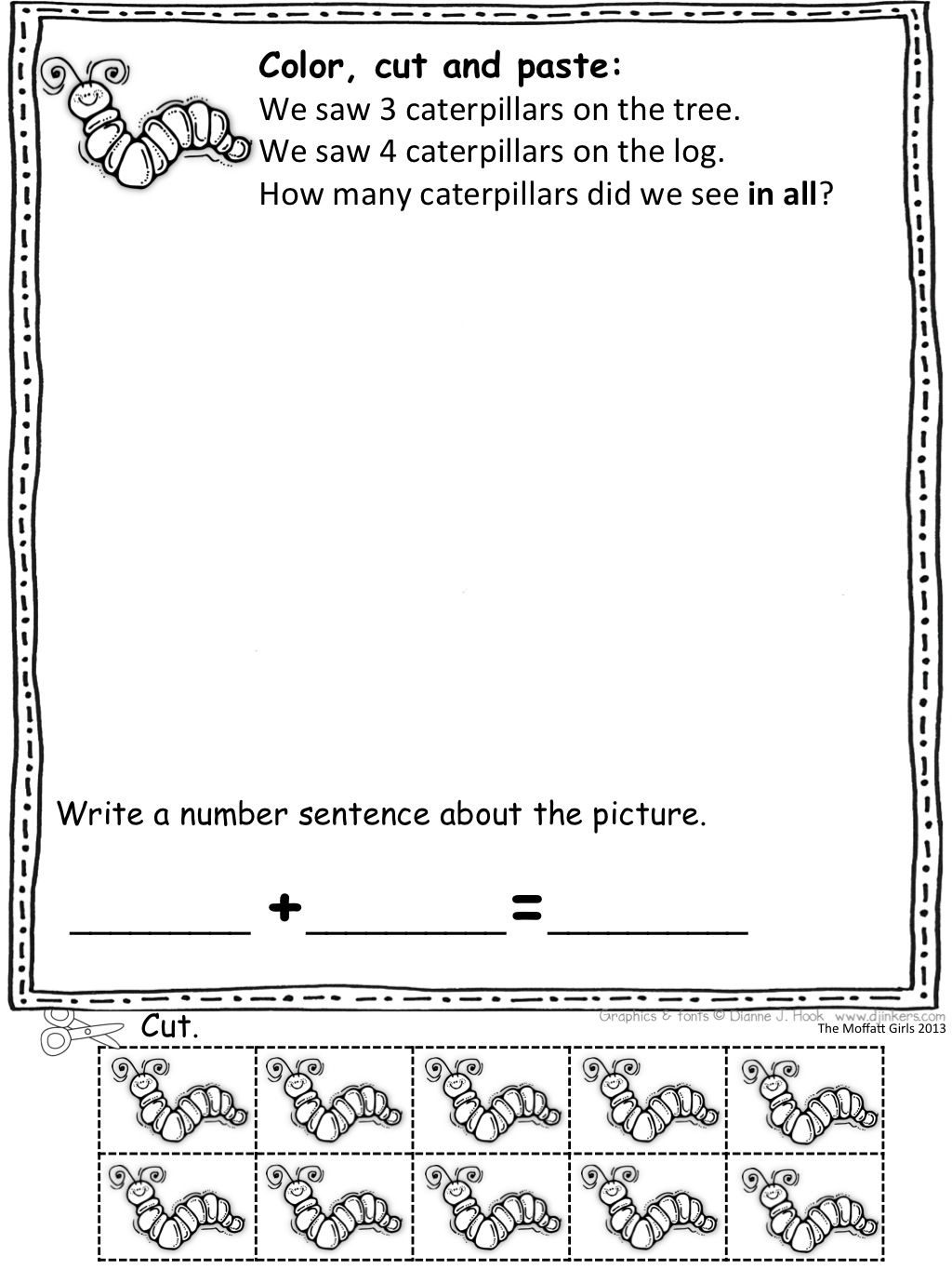Color Cut And Paste Spring Math Word Problems With Built In Manipulatives Such A Fun Way To