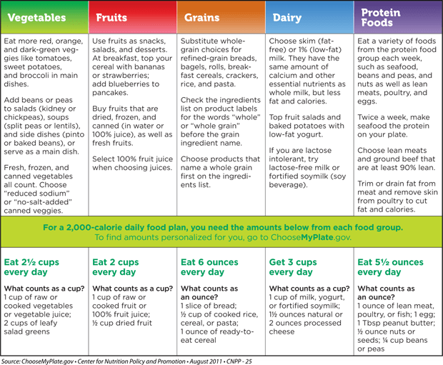 Choose My Plate Food Chart Health Pinterest Food