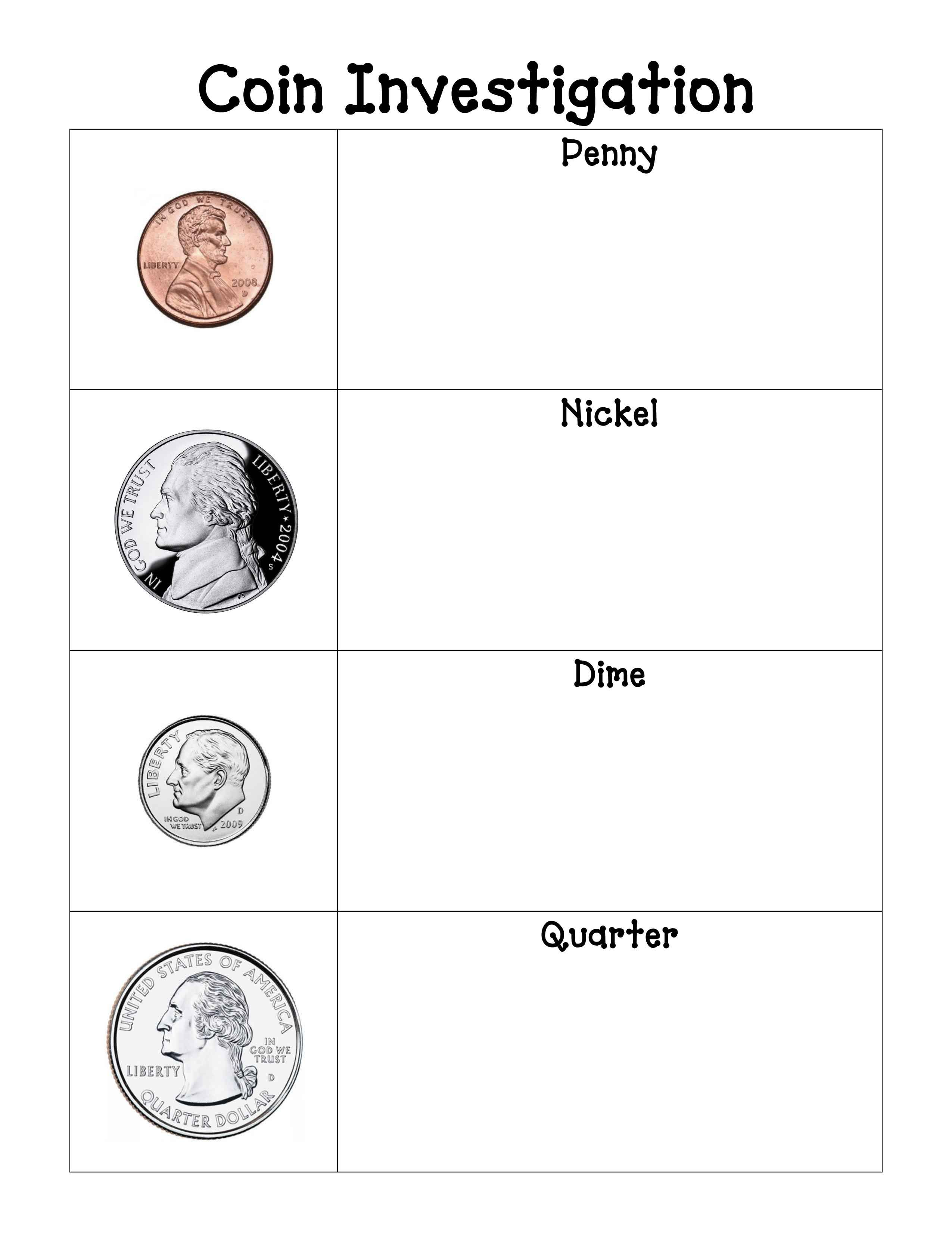 Blank Sheet For Observations On Each Coin And A Sheet For Coin Rubbings Free Downloads