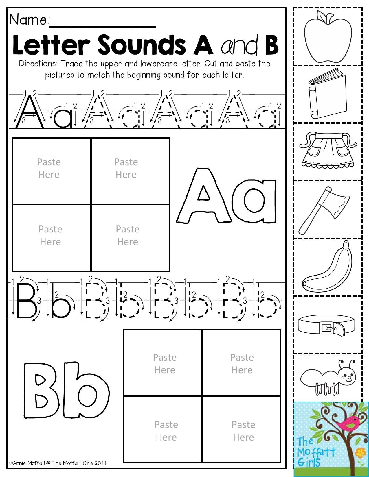 Letter Sounds Trace The Letters Then Cut And Paste The Pictures To Match The Beginning Sound
