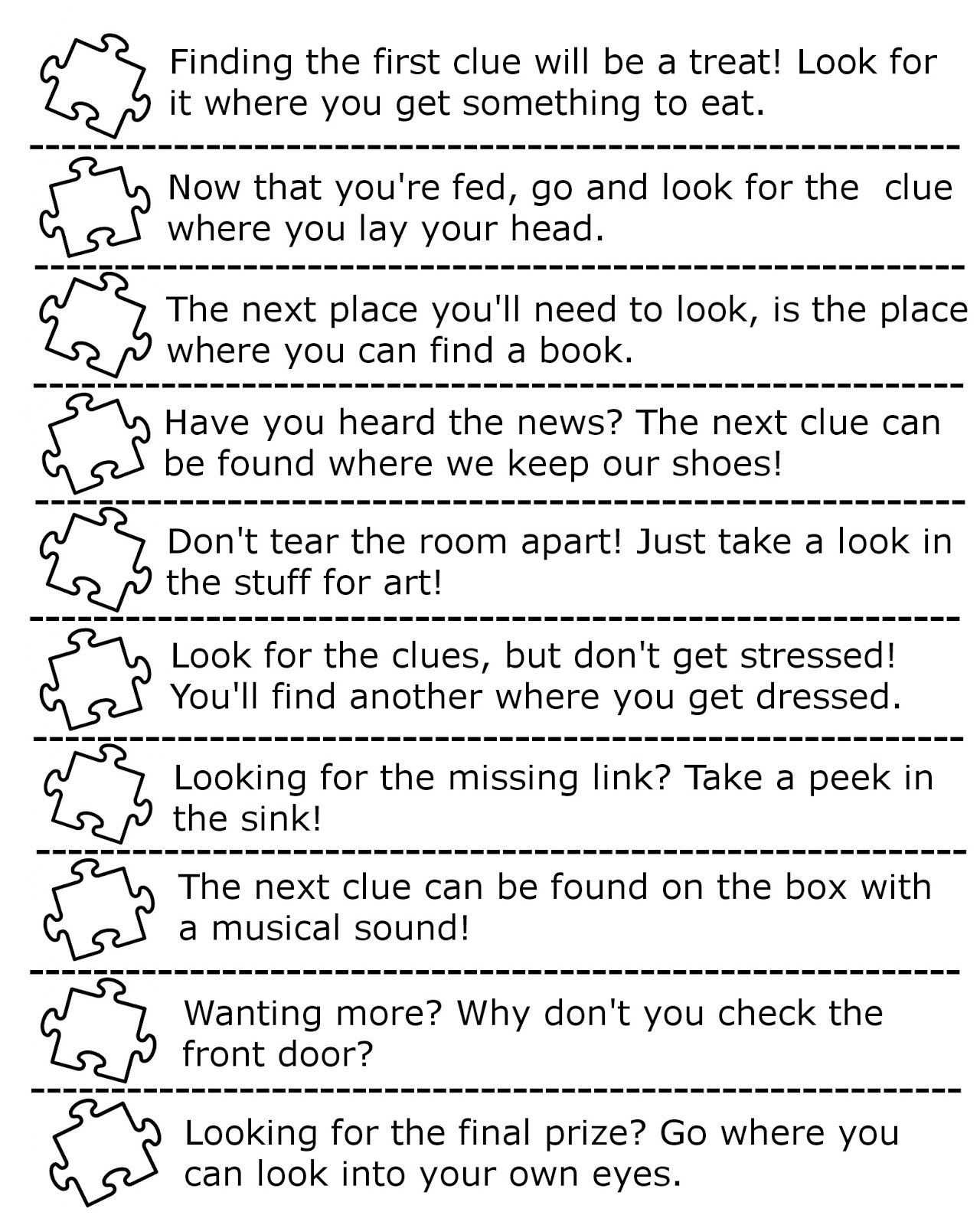 Clues for creating a puzzle hunt Activities for Kids