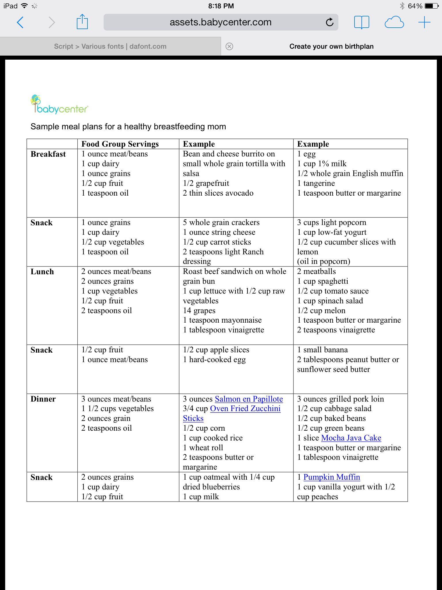 Sample Meal Plan For Breastfeeding Moms