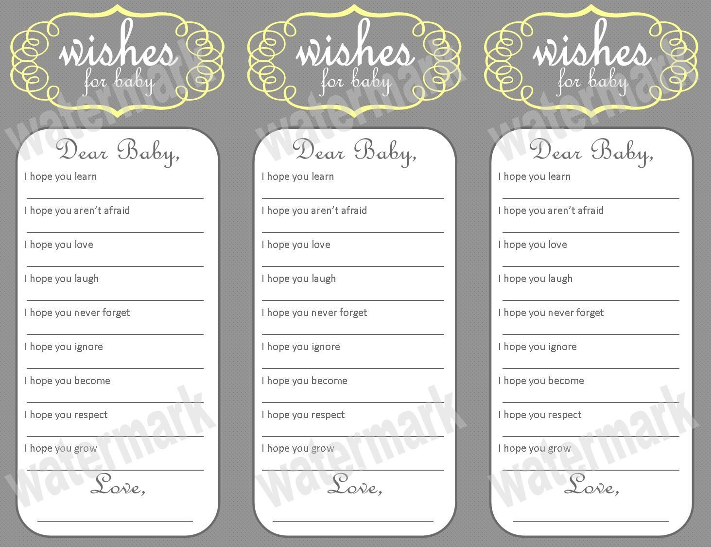 Wishes For Baby Free Printable Wishes For Baby