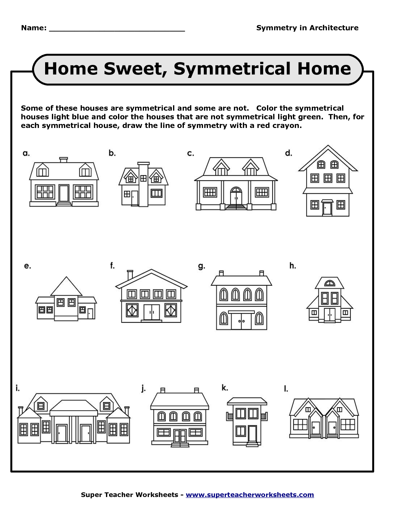 Symmetry Worksheet Houses
