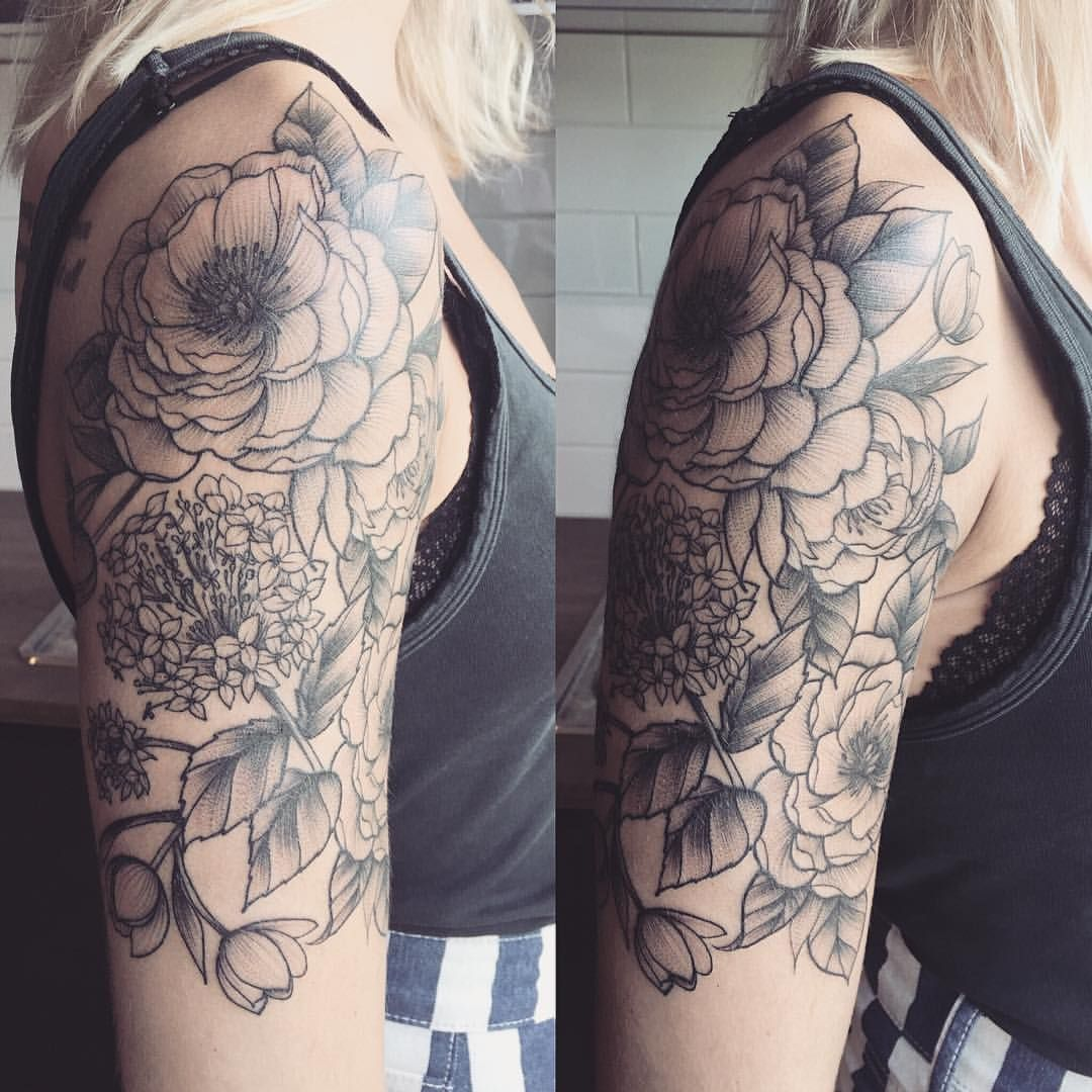 An almost half sleeve of peonies, hydrangeas and tulips