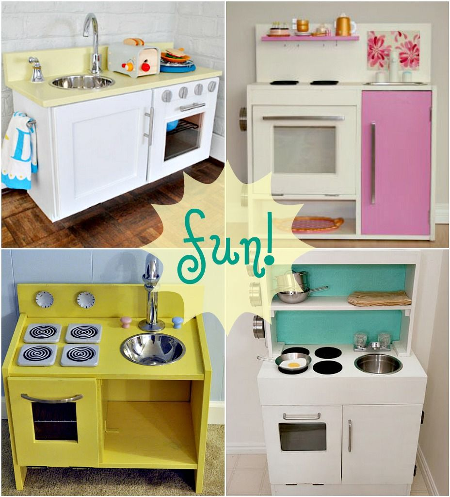 diy play kitchens. Makes me want to be a kid again. Or at