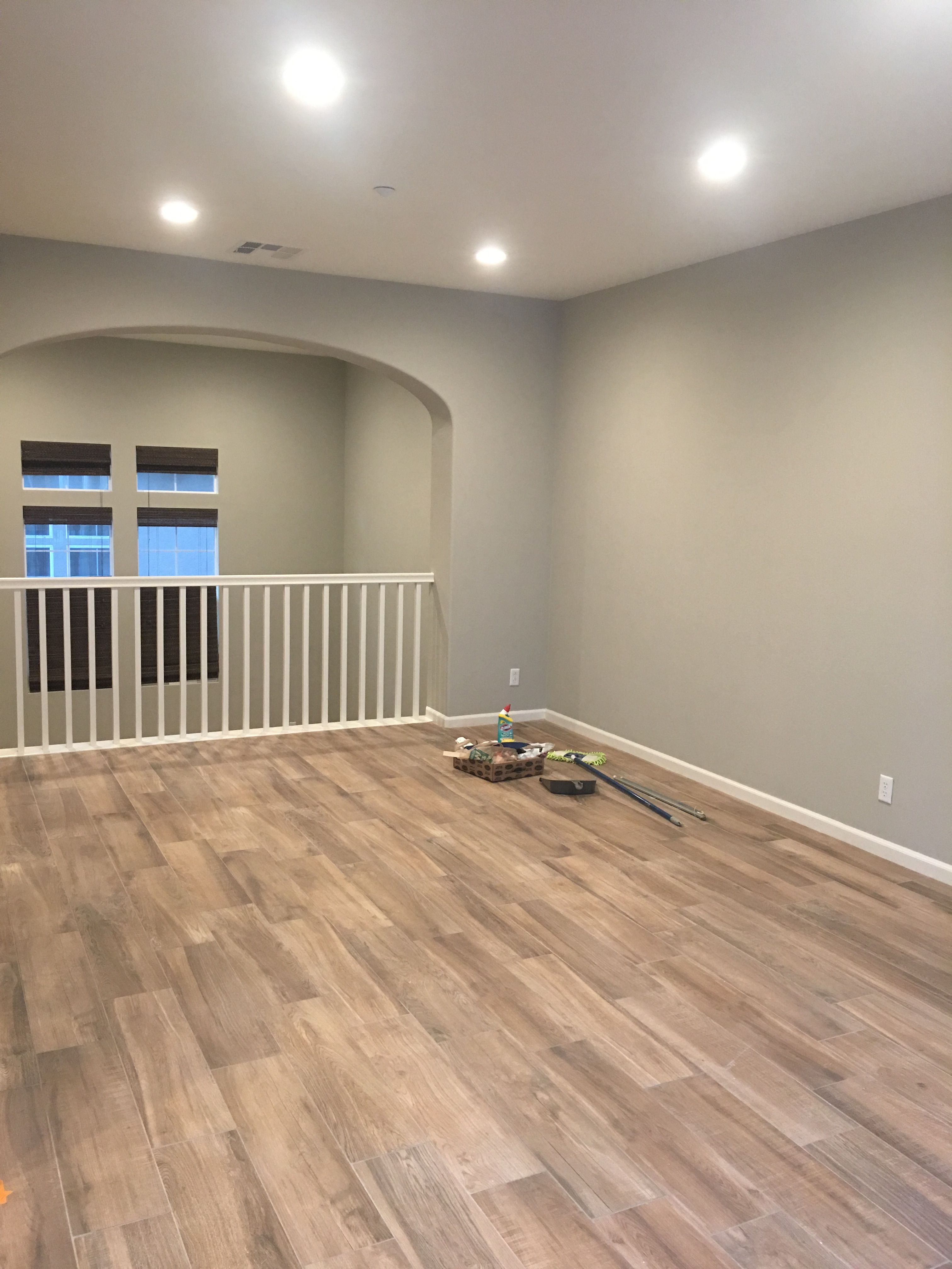 Benjamin Moore wall color Revere Pewter and wood look Tile