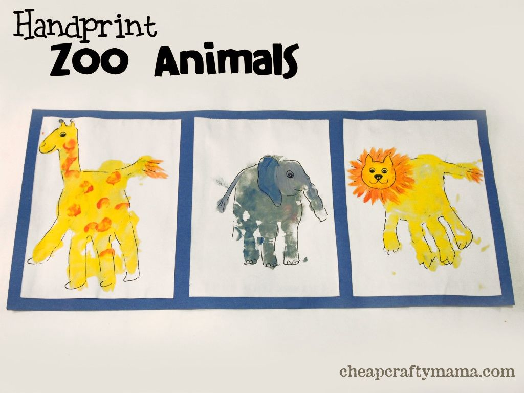 Handprint Zoo Animals Pinned By Super Simple Songs Educational Resources For Children
