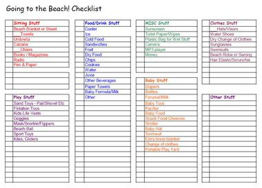 Printable Beach Vacation Packing List Checklist Pdf File