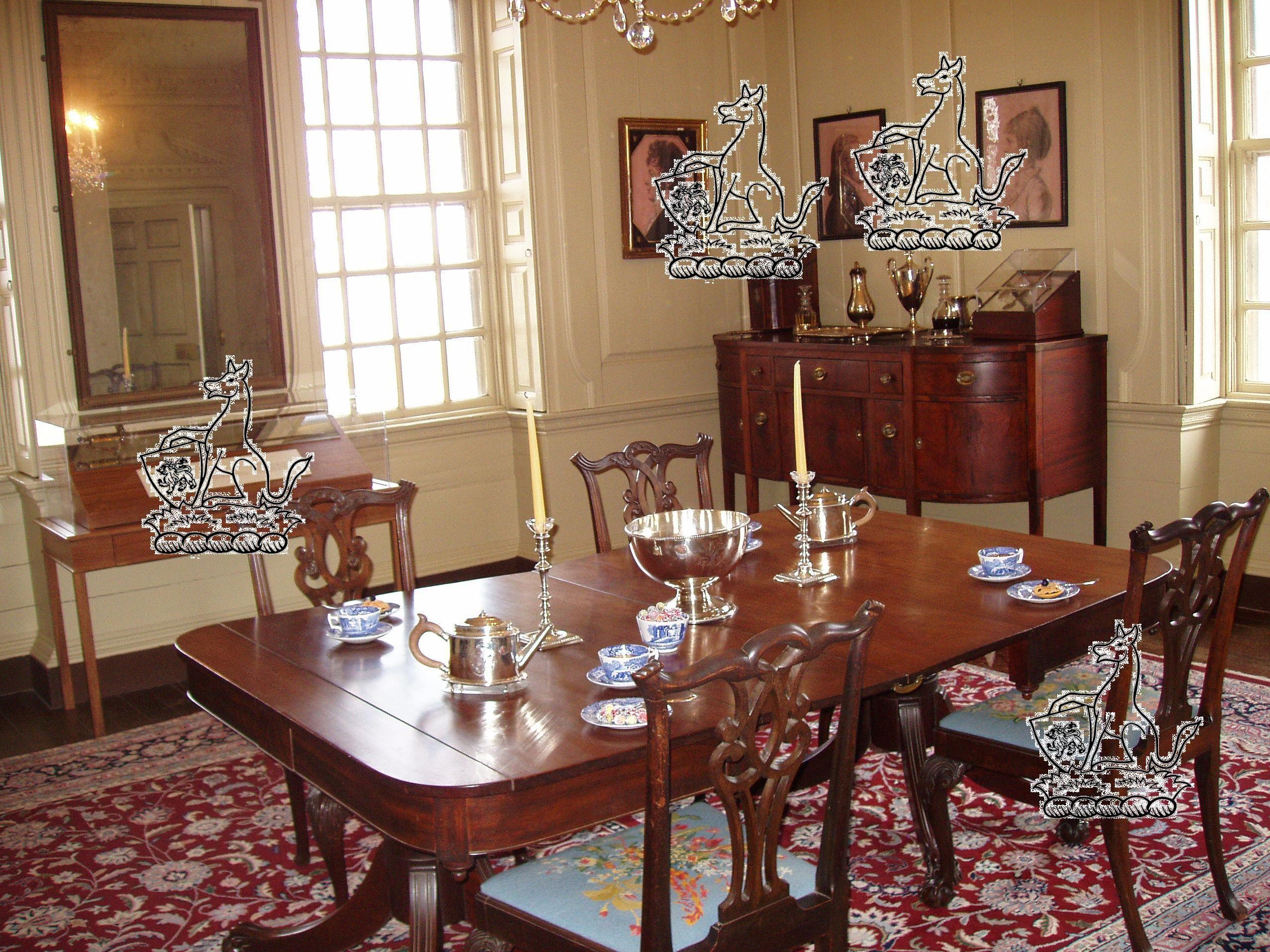 The Dining Room inside Shirley Plantation, Virginia. I