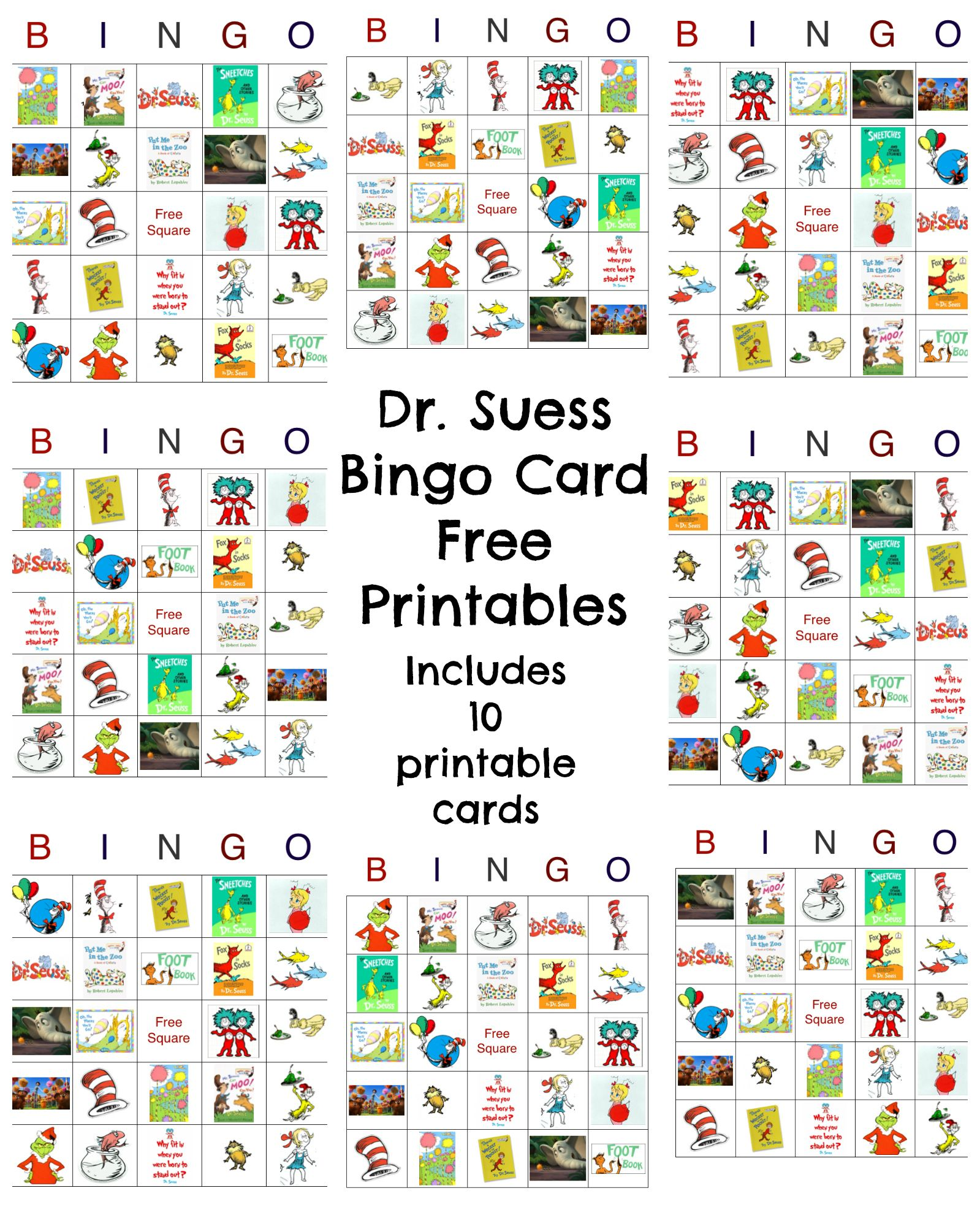 Dr Seuss Bingo Game Free Printable