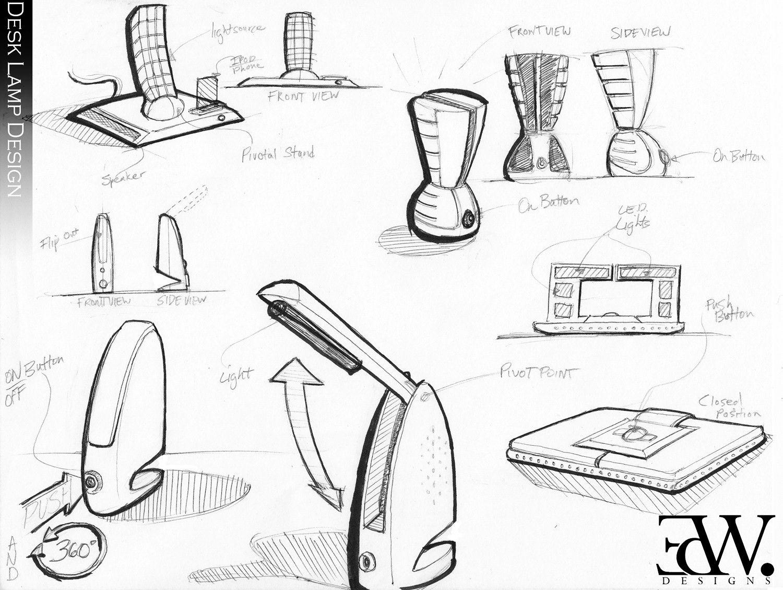 Led Desk Lamp Design Sketch