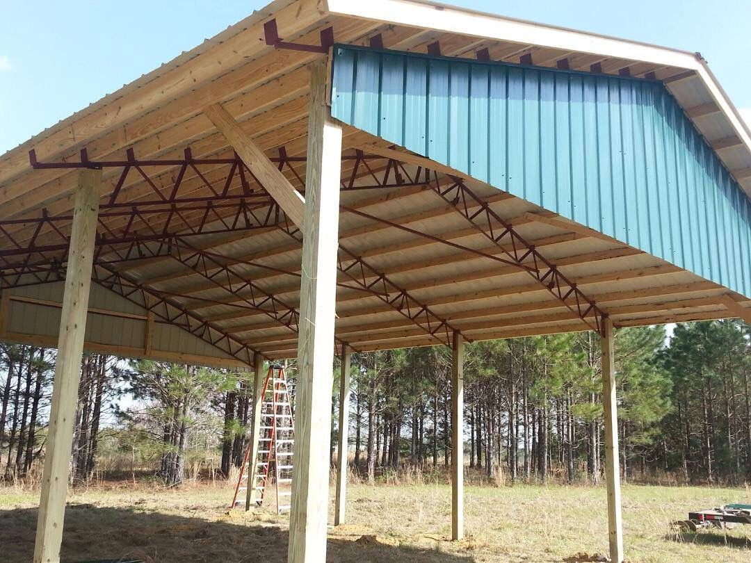 pole barn metal truss system Barns and Garages