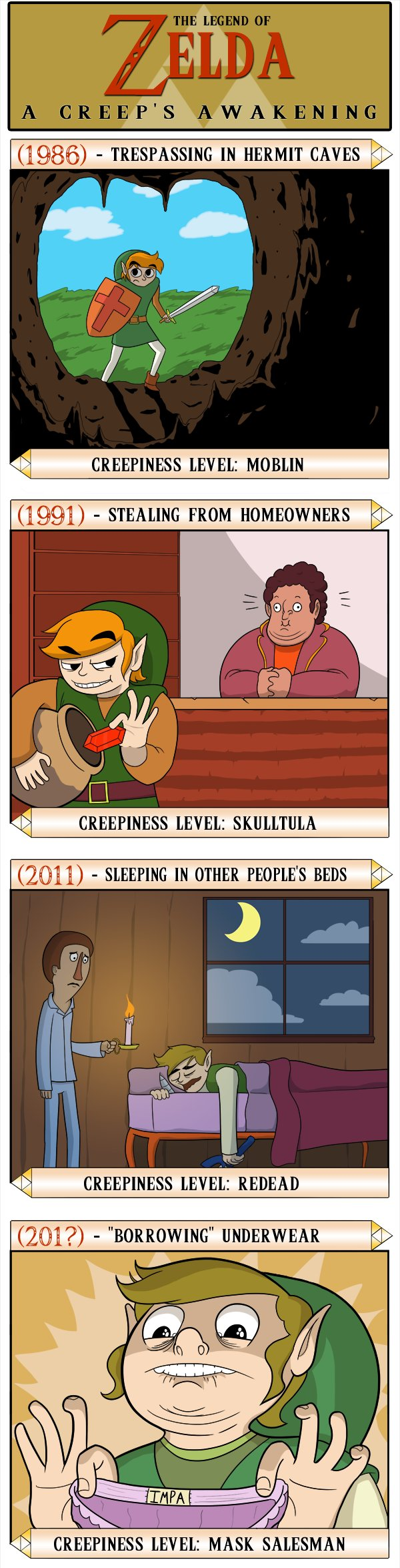 Poor Link, so misunderstood... Wait, he steals panties in