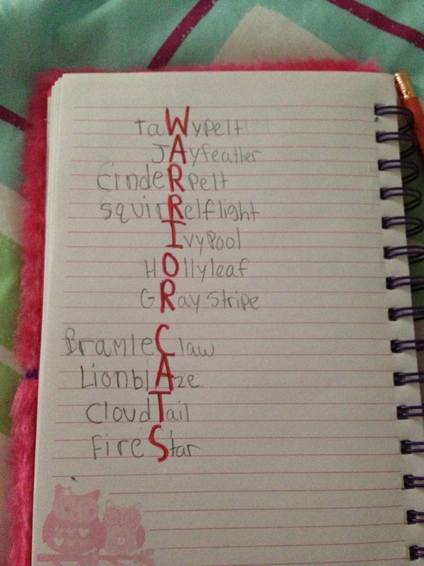 Warrior Cats Acrostic! These are some of my favorite