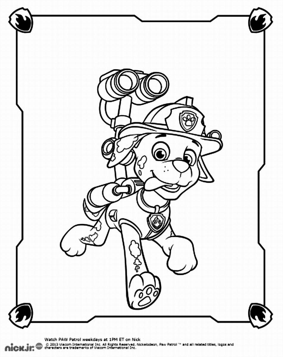 Marshall Paw Patrol Coloring Pages Coloring Pages for