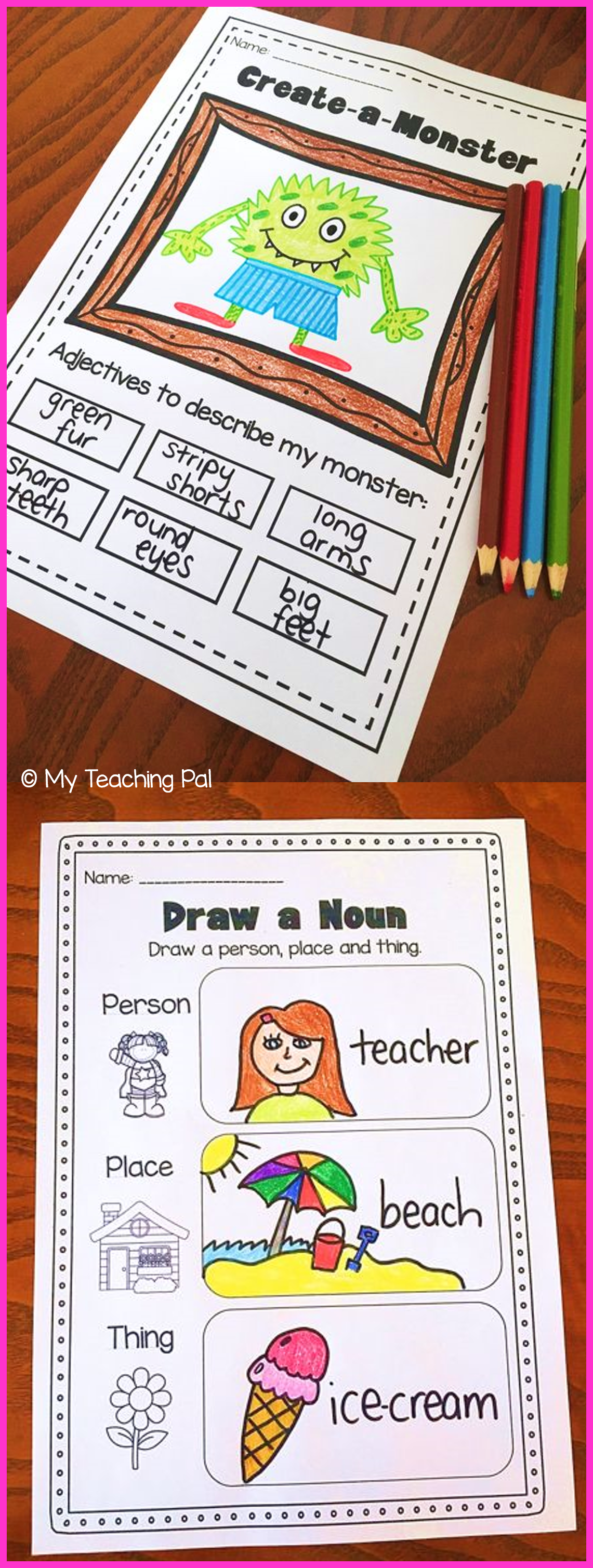Nouns Adjectives Amp Verbs Printable Worksheet Bundle