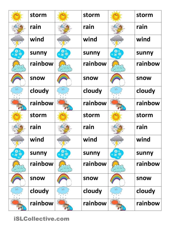 weather test ESL worksheets of the day Pinterest