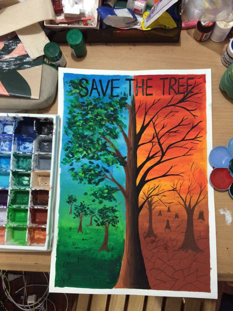 save the tree ) [ poster colour ] Art!! Pinterest
