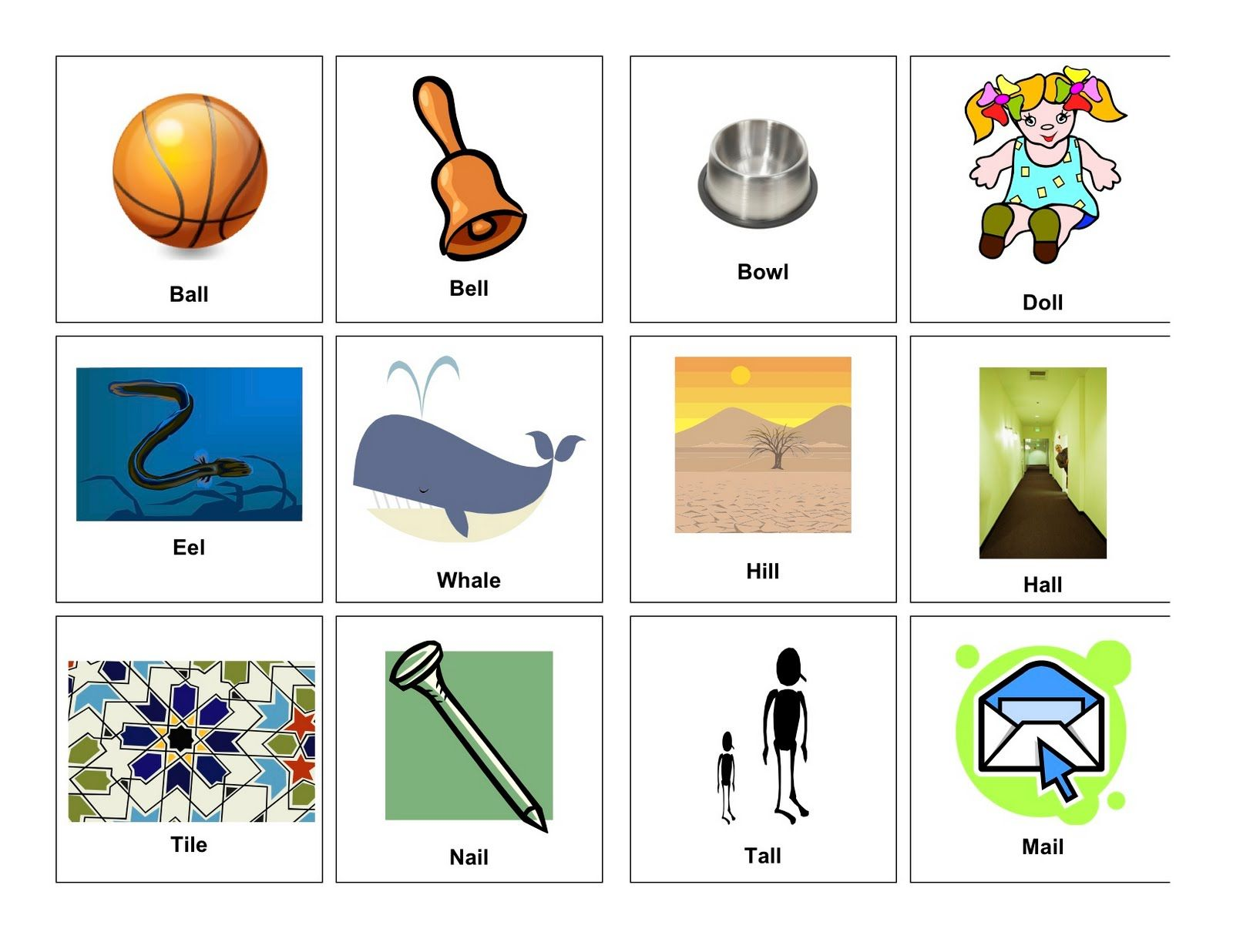 Medial K Words With Pictures