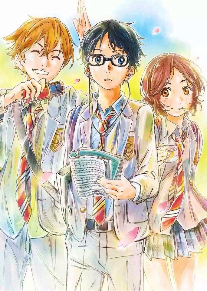 Watari, Kousei, and Tsubaki Shigatsu wa Kimi no Uso
