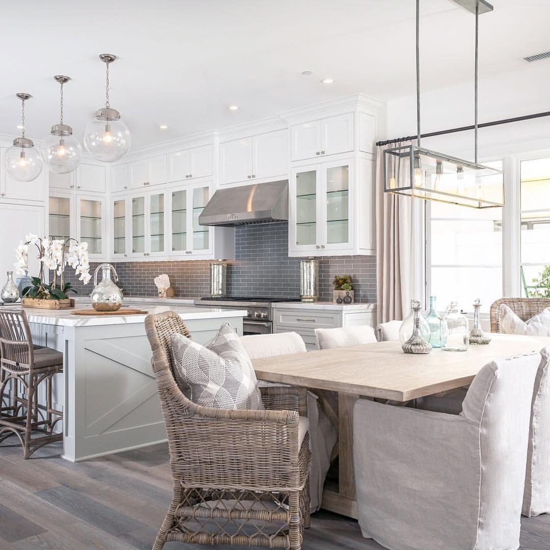 Grey white modern farmhouse kitchen & dining nook