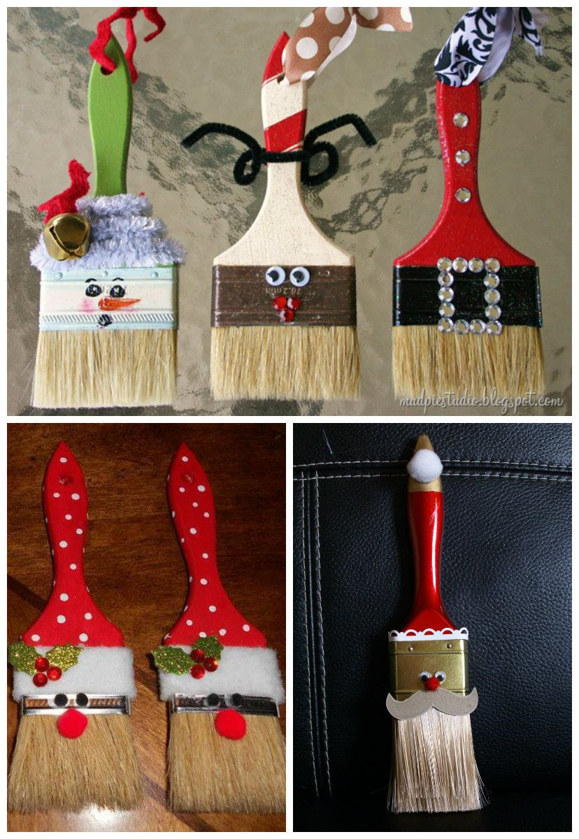 DIY Paint Brush Santa Ornaments Share Your Craft