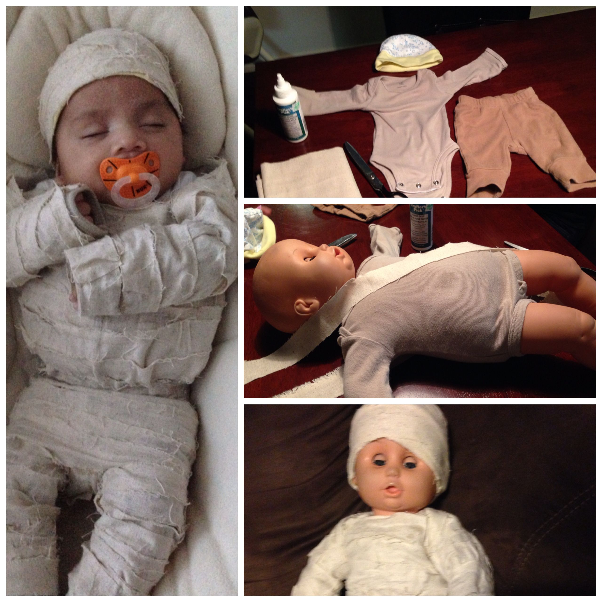 DIY baby mummy costume. Halloween Pinterest