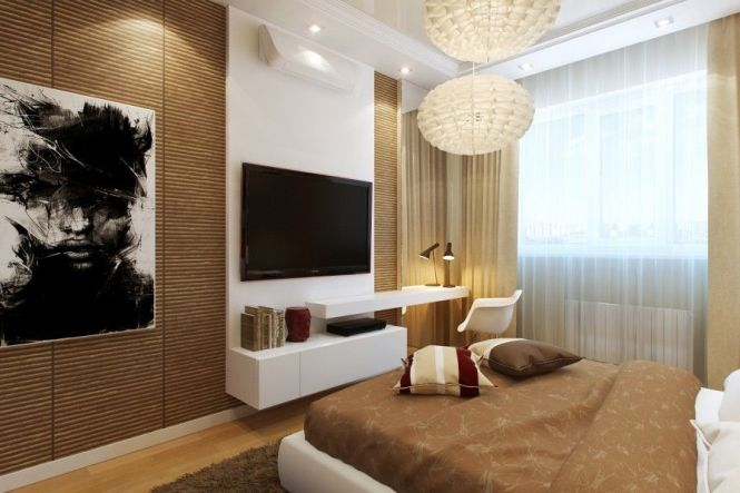 Bedroom Tv Design Ideas Bamboo Wall White Shelving Unit Modern Chandelier Chair Also