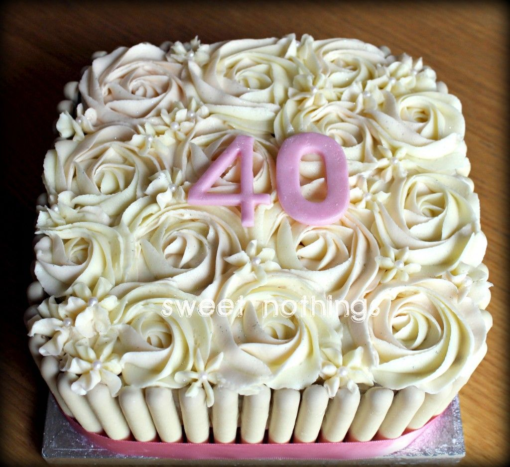 Rose Swirl Square Birthday Cake