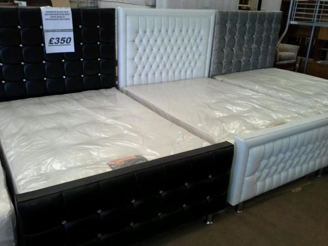 350 Brand New Savorski Diamante Double Beds With Thick Orthopaedic Mattress Http
