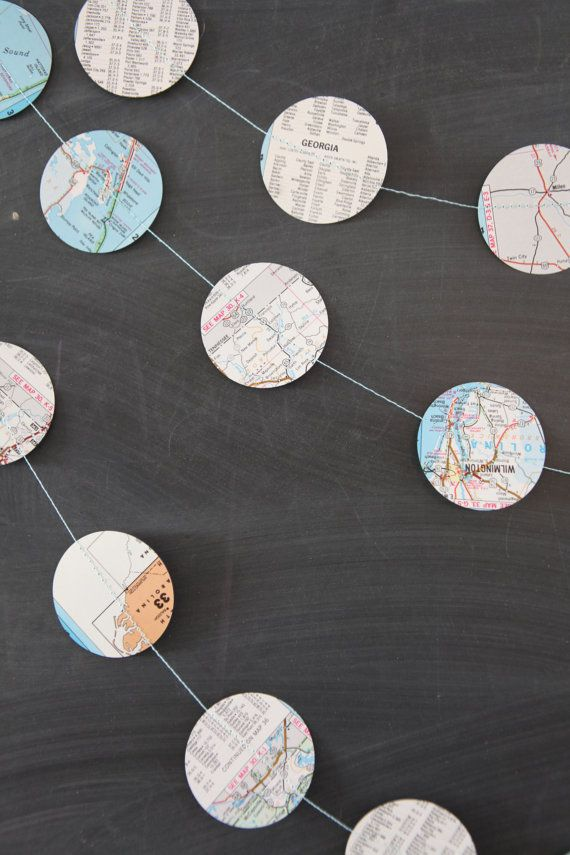 Vintage Maps Dots Garland Going Away Party Or Around The