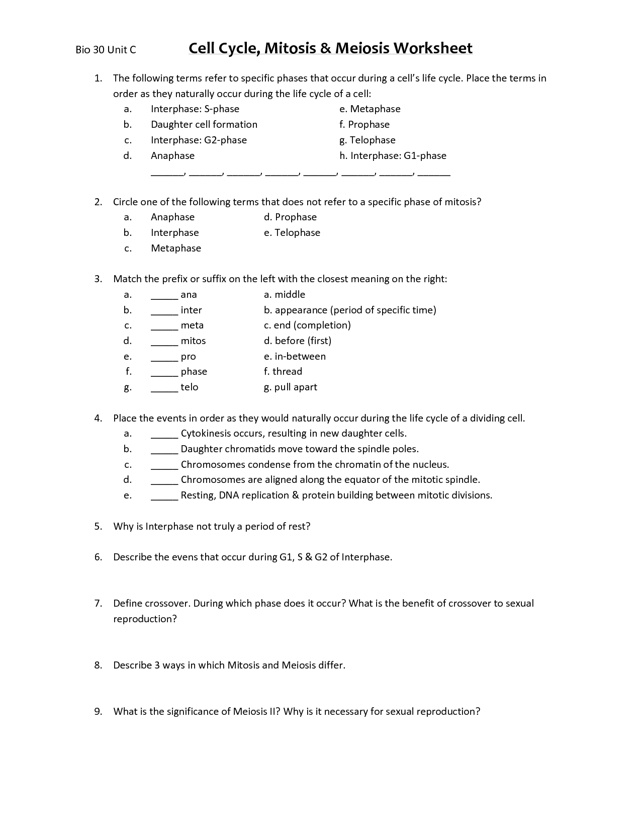 Worksheet Comparing Mitosis And Meiosis Worksheet Answers