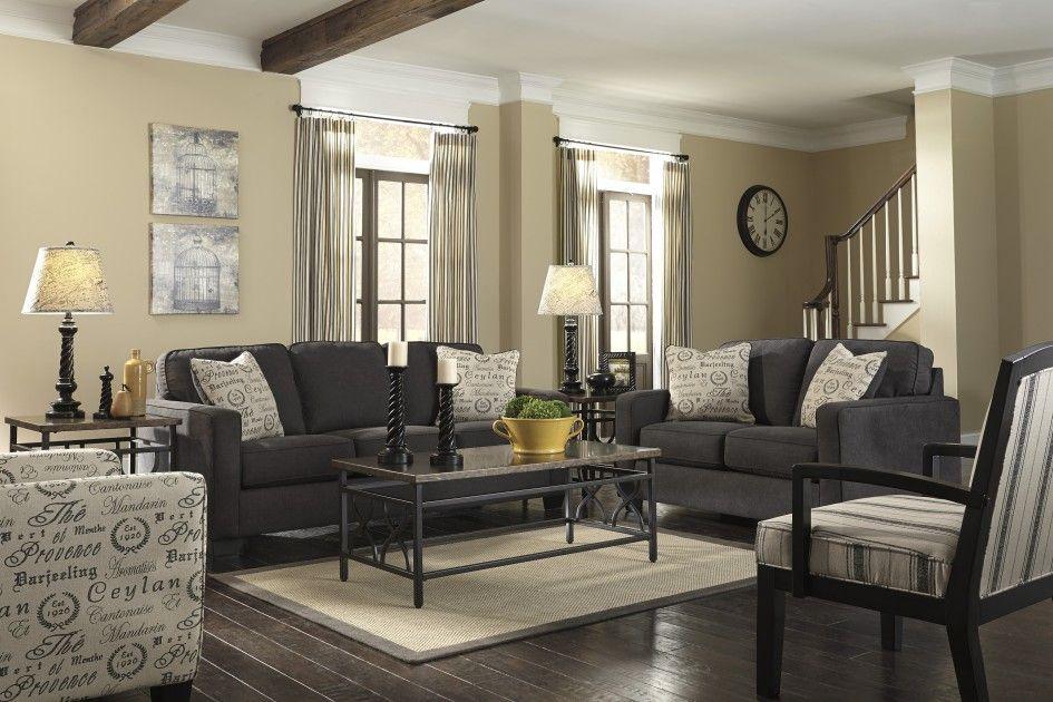 Furniture Awesome Modern Charcoal Sofa Living Set On White Rectangular Carpet And Dark Laminate