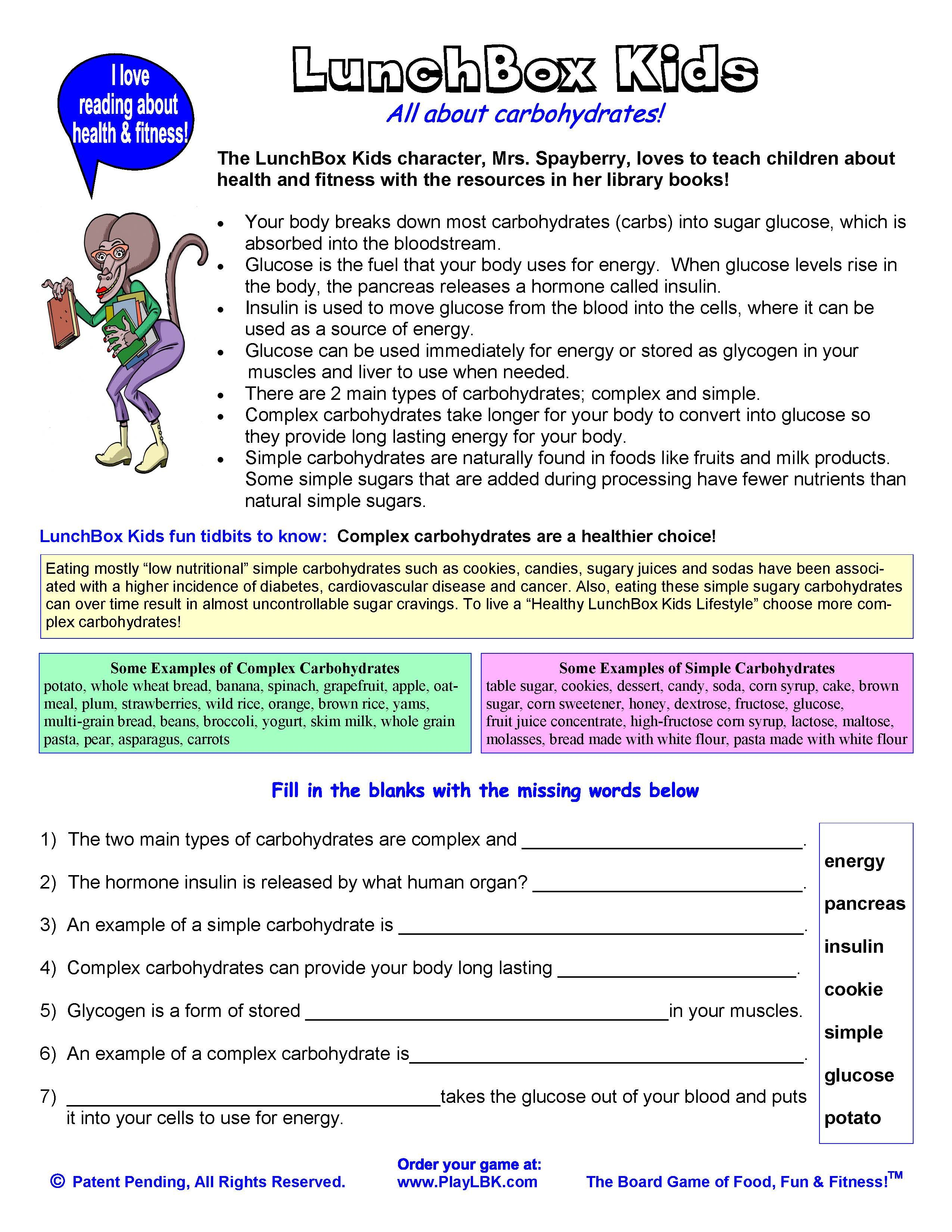 All About Carbohydrates Resource Worksheet