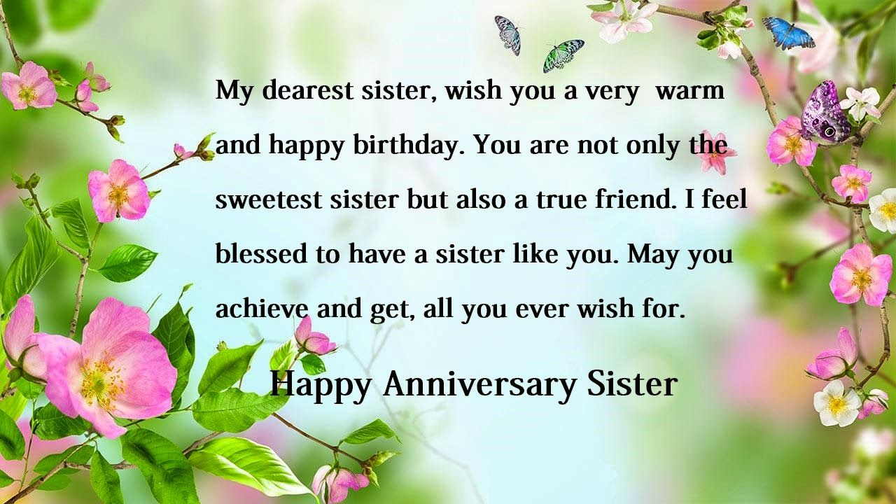 Happy anniversary wishes for sister Sister Anniversary