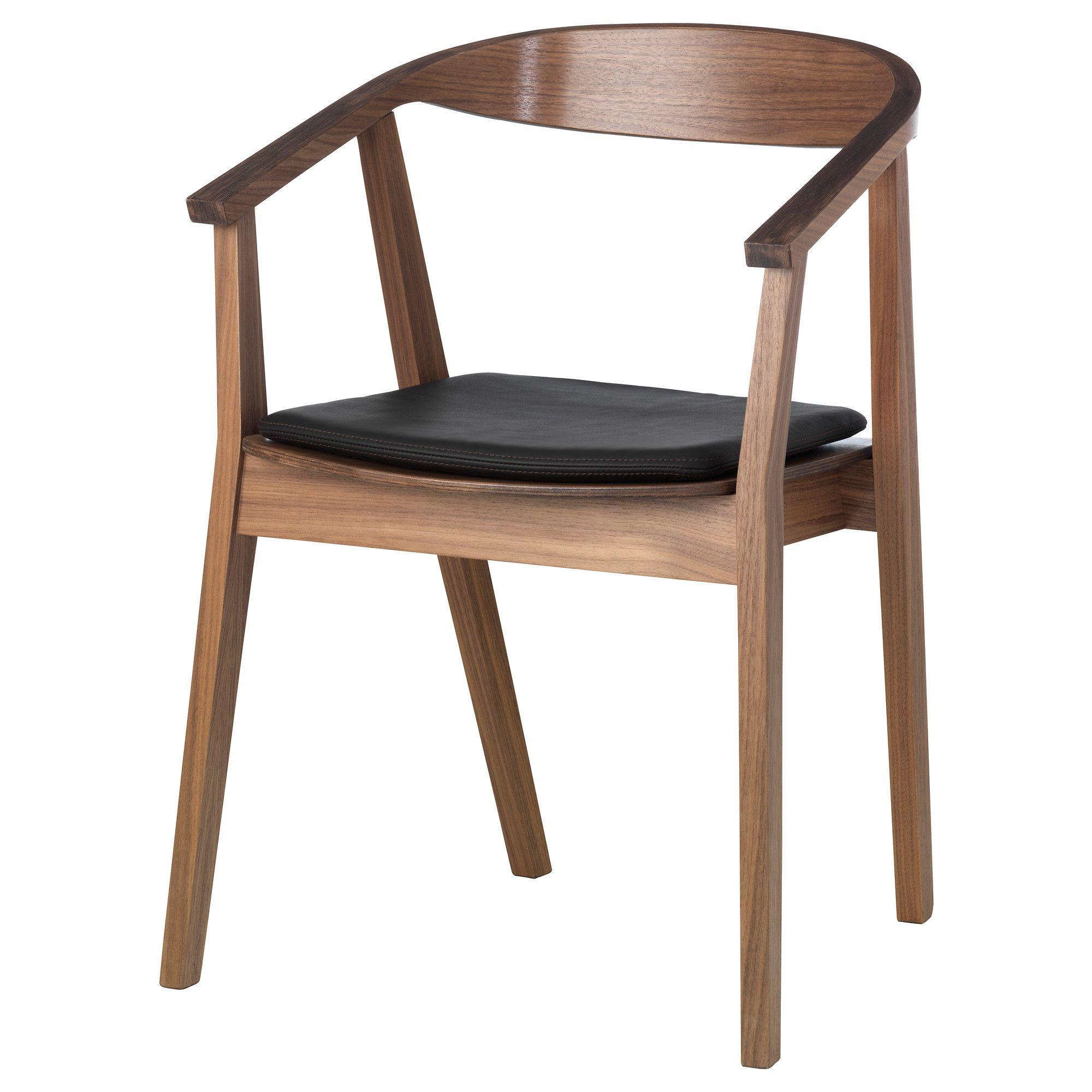 STOCKHOLM Chair with chair pad walnut veneer/dark brown