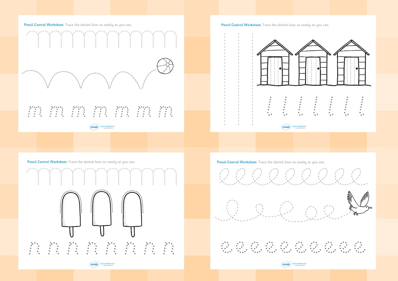 Twinkl Resources Gt Gt Seaside Pencil Control Worksheets