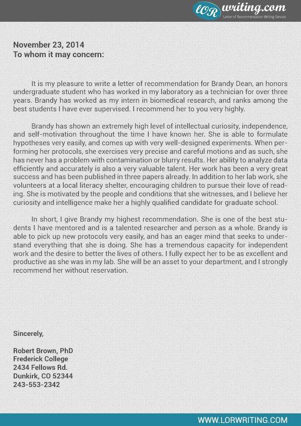 Letter For Graduate School Social Work