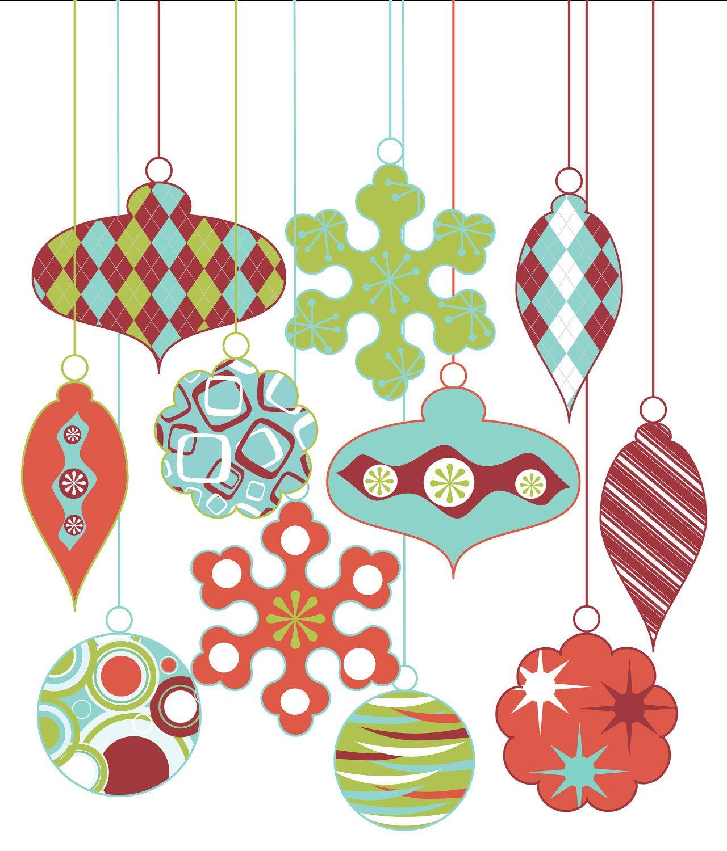 Retro Christmas Ornament Clipart Clip Art, Vintage