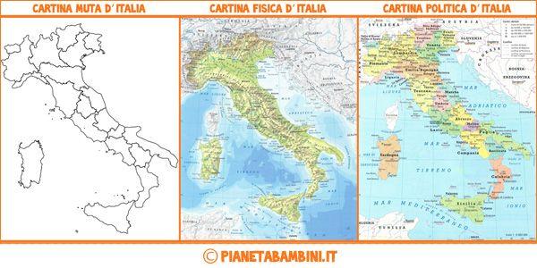 Cartina Muta Fisica E Politica DellItalia Pronta Da