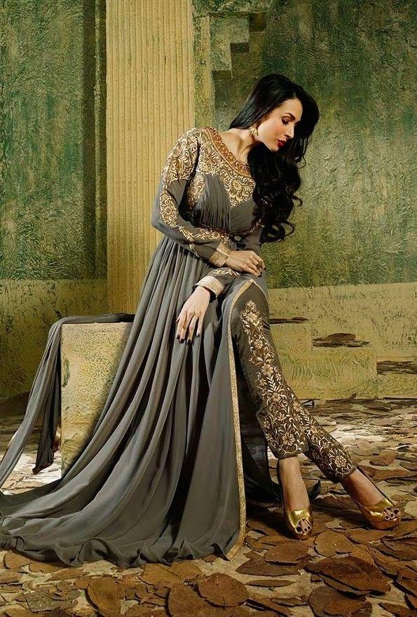 Malaika Grey Pant Style Anarkali Desi style, that's how