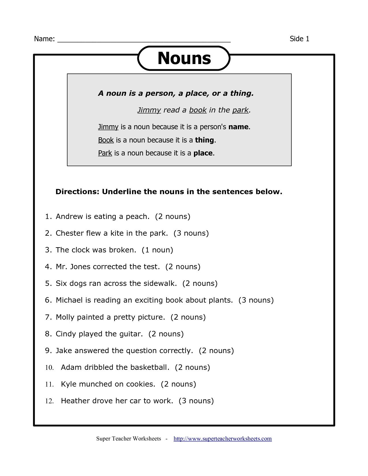Cycle 2 Week 17 English Noun Worksheets