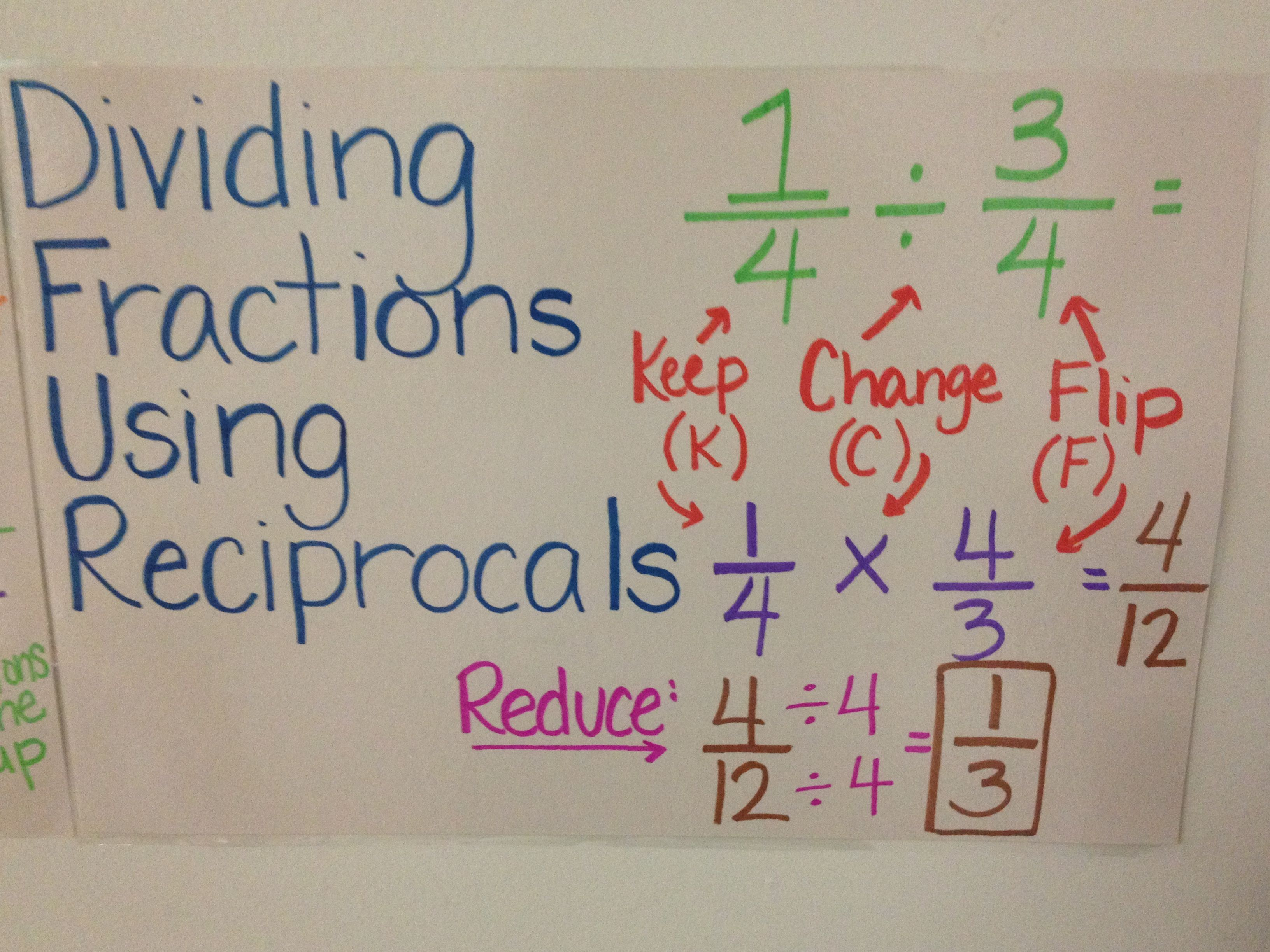 Dividing Fractions Using Reciprocals