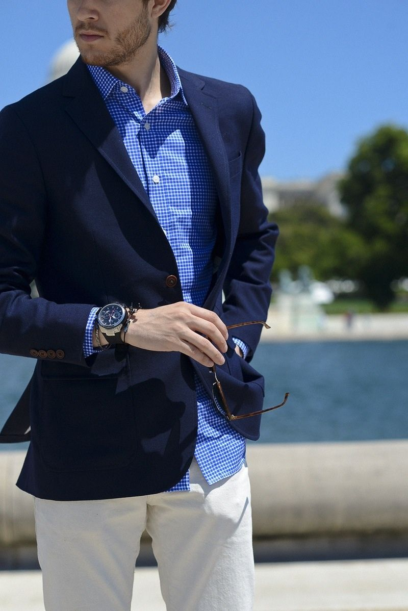 Men's Fashion /Summer/ Blue sports coat, shirt, and light